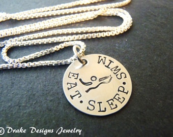 sterling silver Swimmer necklace gifts for swimmer jewelry