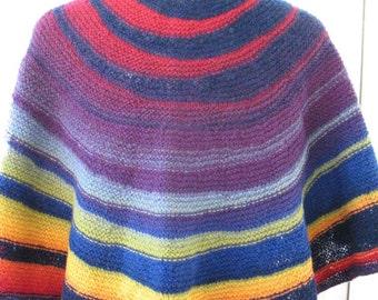 Shawl Scarf Rainbow Hand Knit 100 Wool Kauni EQ 2 Ply Unique Vermont