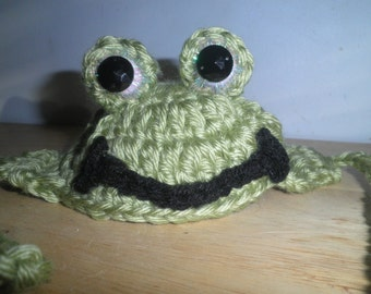 Crocheted Frog Dog Hats Halloween Costume Frog Hat for Cats X Small or Small