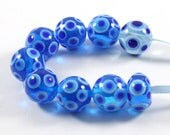 Turquoise Glass Beads, Aqua , White and Blue Round Polka Dot Lampwork Glass Bead, SRA, Set of 9 Beads