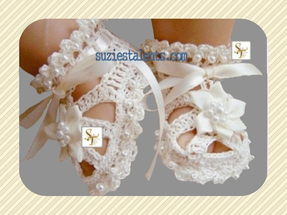 Original Designer Christening Shoes with Beads Baby