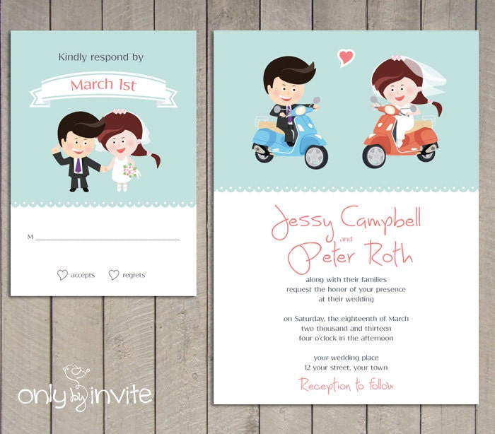 Cartoon Bride And Groom Wedding Invitations Cartoon Bride Groom