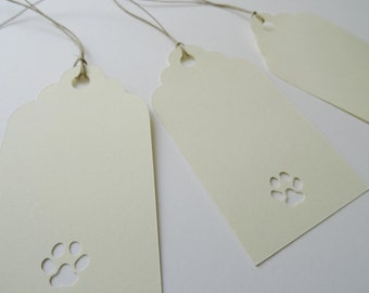 Dog Birthday Gift Tags, Kraft Card Stock Paw Cut Outs, Die Cuts, Paw Print Gift Tags, Creamy Buff Card Stock Tags, Set of 10