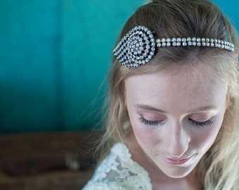 Hermes:  Art Deco headband, wing hairband, 1920's hair piece, rhinestone bridal band