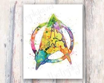Splatter Star Trek Print, 8x10, Geekery, Nerdery, Wall Art, Decoration, Gift, Colorful, Artsy, Dorm Decor