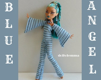 Monster H Doll Clothes Nef and the big dolls Handmade Custom Fashion Jumpsuit and Jewelry - by dolls4emma