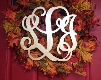 """20"""" INCH Large 3 Wooden Vine Connected Monogram Letter, Unfinished,Unpainted"""