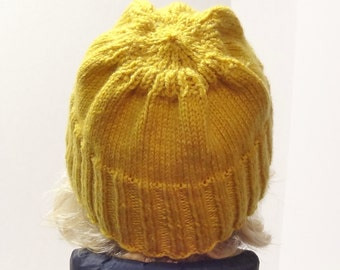 Knitted Hats for Women, Hand Knit Hat, Beanie Hat, Running Hats, Yellow Hats, Winter Hat, Winter Accessories