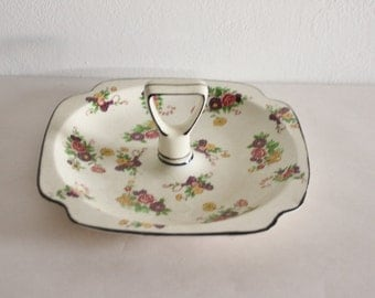 Vintage Porcelain Candy Bowl with Center Handle Made In Japan