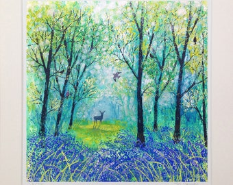 Mounted print of the English countryside of a bluebell wood with deers from an original acrylic painting 'Beyond the Blue' by Jo Grundy