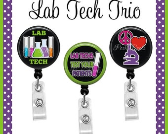 Retractable Badge Holders - Lab Tech Trio Badge Reel Set - Lab Technician Badge Reels - 0997