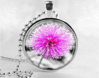 FLOWER Necklace, Flower Pendant, Flower Jewelry, Glass Art Pendant Charm, Purple Flower