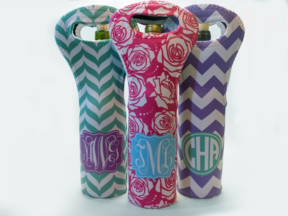 Personalized Wine Tote with Your Monogram - Name - Initials - Design your own with chevron, anchors, camo and more!