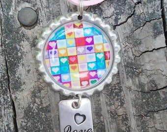 Bright Hearts Bottle Cap Charm Necklace