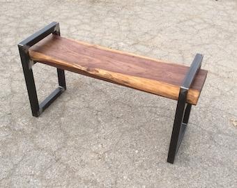 Modern Black Walnut Bench