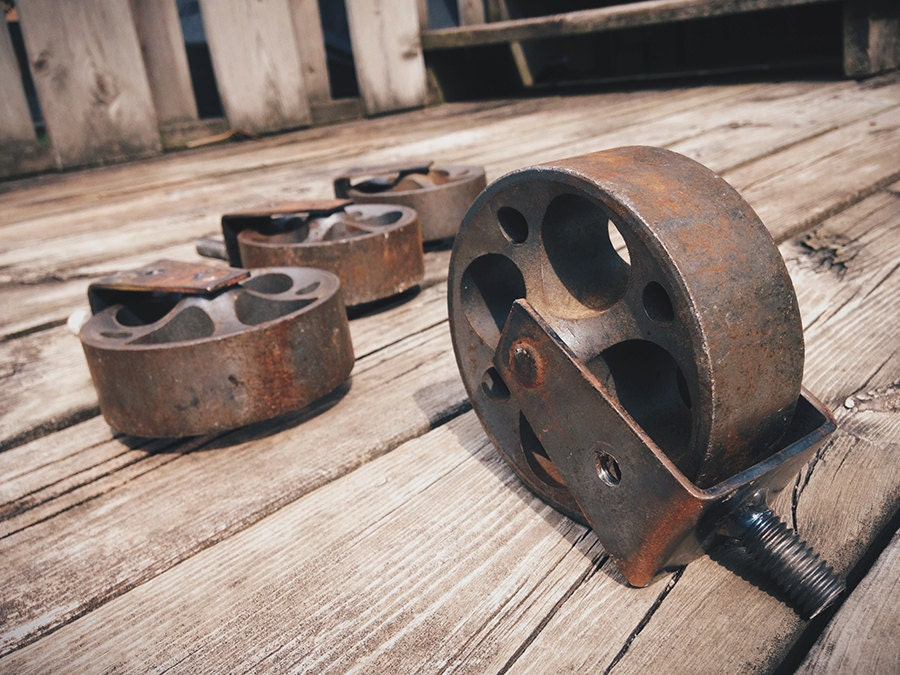 Vintage Industrial Caster Wheels For Warehouse Cart