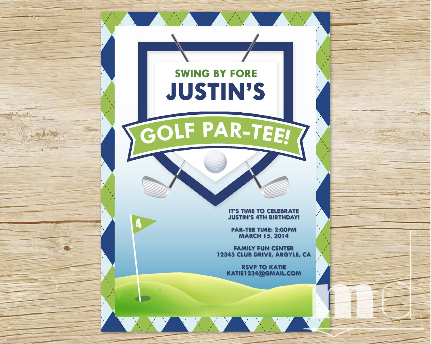 Golf Birthday Party Invitation Custom Golf Thank You Card – Golf Party Invites
