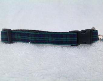 Handmade Scottish Black Watch Tartan Cat Collar