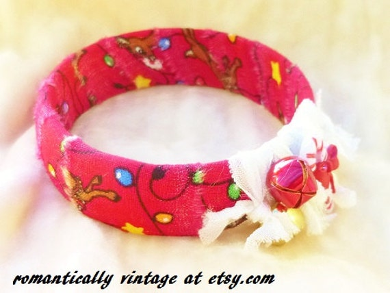 Red Jingle Bells Bracelet, Christmas Bangle, Holiday Jewelry, Rudolph Reindeer, Woodland Faeries, Christmas Wedding Gift