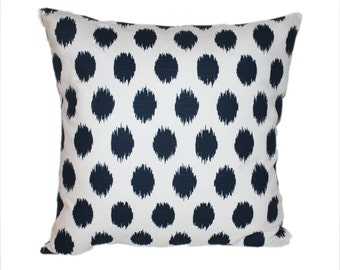 Designer Throw Pillow Cover Navy and White Ikat Polka Dot with Invisible Zipper you Choose Size