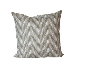 Taupe Ikat chevron Pillow Cover -  Any Size - Neutral Decorative Pillow Cover