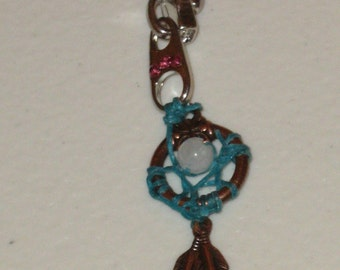 Dreamcatcher Belly Ring,naval ring,body piercing jewelry,moonstone,zipper with Rhinestones