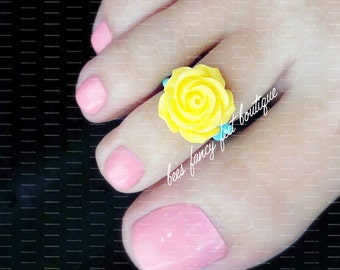 Toe Ring - Yellow Rose - Polymer - Stretch Bead Toe Ring