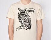 Owl Shirt Grammar Shirt Who Whom Men's Shirt Men's T-Shirt English Teacher Gift for Teachers Editor Cool Funny T Shirt Man Typography Tshirt