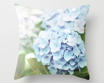 Blue Hydrangea Pillow, Blue Pillow, Flower Pillow, Home decor pillow, Hydrangea cushion, Blue Nature Pillow - 16x16 18x18 20x20 Pillow Cover