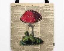 Mushroom Dictionary Page Tote Bag, Forest Mushroom Tote Bag, Sepia OOAK design bag, Grocery Bag, Modern, Contemporary bag, by CARTISIM