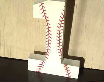 "8"" Baseball Stand Up Decorative Numbers, Birthday Party, Photo Prop Baseball Birthday Decor, Boys Birthday Decor"
