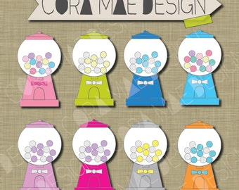 Gumball Machine clipart, 8 Instant PNG files.Transparent background. 300 dpi resolution
