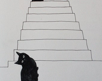 black cats stairsEtsy  illustration for the wall