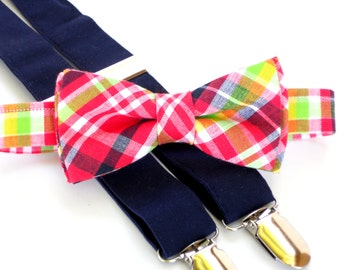 Boys wedding outfit, ring bearer outfit, toddler bow tie and suspenders, pink bow tie, navy suspenders, toddler photo prop