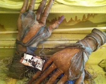Primitive Halloween Witch Hands handmade ornies  fillers