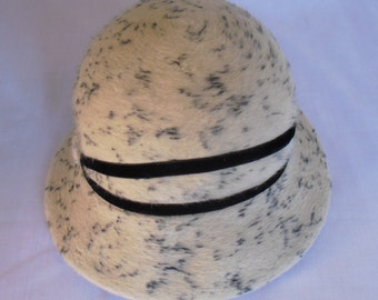 vintage hat, black and white, fur, made in Italy Dalmatian trademark,OOAK