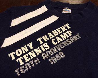 CHAMPION BLUE BAR Shirt 1980 Vintage/ Poly/Cotton Tony Talbert Tennis Small TShirt/ Collector Tenth Anniversary Sports UsA Made Tee