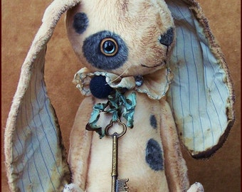 """by Alla Bears Beautiful 11"""" original artist Bunny collectible handmade Whimsical toy art doll ooak Vintage baby"""