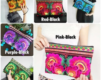 Embroidered Clutch Wristlet Bag Black Fabric of Chinese Hmong Hill tribe Thailand (KP1053)
