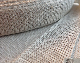 Linen Ribbon Knitted 30 mm Raw Linen Tape 3 meters for Craft and Jewellery