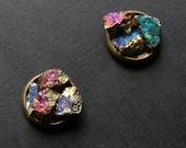 Peacock Ore Cluster Stud Earrings, Raw Peacock Ore Earrings