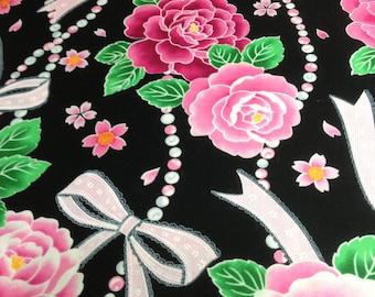 SALE ! Fat quarter cotton fabric / width 50 cm length 50 cm - Jpanese fashion , black , rose , ribbon , kawaii , hime