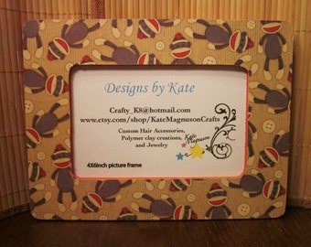 Handmade Decoupage Sock Monkey Inspired Picture Frame