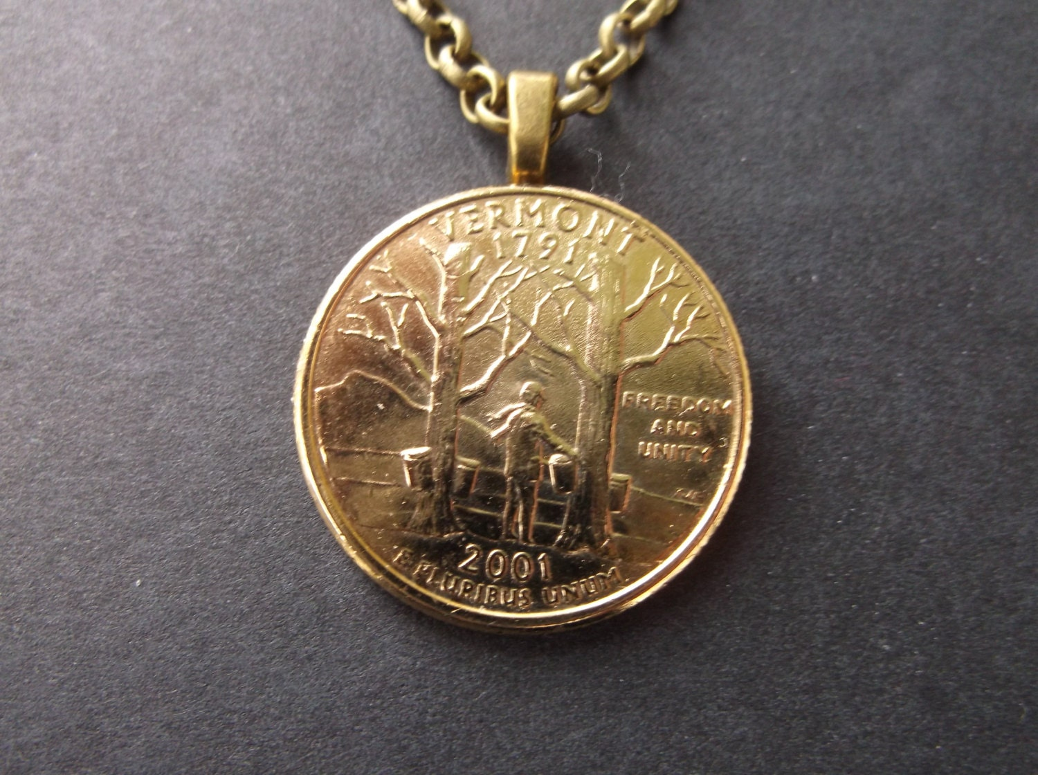 Vermont United States Gold Colored Quarter Coin Necklace