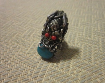 Large Vintage Carnelian Turquoise & Silver Grotesque Monster Ring