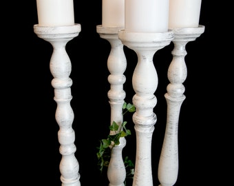 22 Inch Silver-Accented Wedding Pillar Candle Holder Set of Four