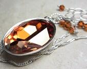 LARGE Swarovski Chili Pepper Necklace Crystal Necklace Pendant Topaz Necklace Brown Amber Necklace Golden Amber Sunny Necklace