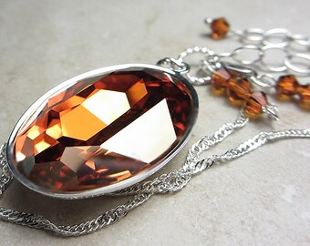 LARGE Swarovski Chili Pepper Necklace Crystal Necklace Pendant Topaz Necklace Brown Amber Necklace Golden Amber Sunny Necklace