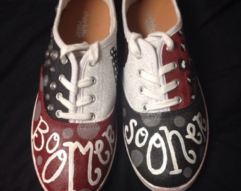 University of Oklahoma Painted Tennis Shoes