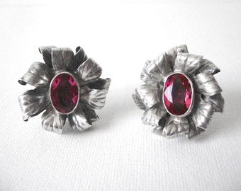 Vintage Sterling Silver Dimensional Floral Earrings With Large Pink Stones